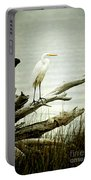 Great Egret On A Fallen Tree Portable Battery Charger by Joan McCool