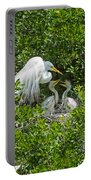 Great Egret With Chicks On The Nest Portable Battery Charger