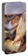 Great Falls Of Yellowstone Portable Battery Charger by Thomas Moran