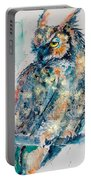 Great Horned Owl In Gold Portable Battery Charger