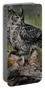Great Horned Owl On Branch Portable Battery Charger