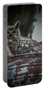 Great Horned Owl On Nest Portable Battery Charger