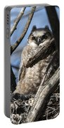 Great Horned Owlet Finishes Lunch Portable Battery Charger
