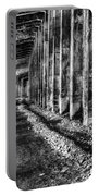 Great Northern Railroad Snow Shed - Black And White Portable Battery Charger
