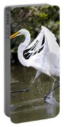 Great White Egret And Turtle Friends1 Portable Battery Charger
