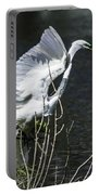 Great White Egret Building A Nest V Portable Battery Charger