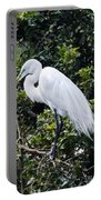Great White Egret Building A Nest Viii Portable Battery Charger