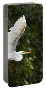 Great White Egret Flying 1 Portable Battery Charger
