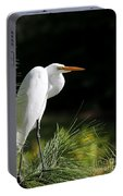 Great White Egret In The Tree Portable Battery Charger