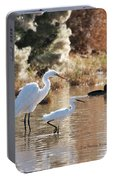 Greater Egret Lesser Egret And Coot Portable Battery Charger