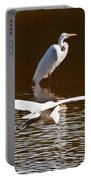Greater Egrets Meeting Up Portable Battery Charger