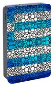 Greek Flag - Greece Stone Rock'd Art By Sharon Cummings Portable Battery Charger