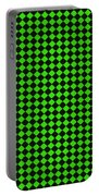 Green And Black Checkered Pattern Cloth Background Portable Battery Charger