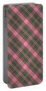 Green And Pink Diagonal Plaid Pattern Textile Background Portable Battery Charger