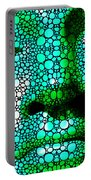 Green Buddha - Stone Rock'd Art By Sharon Cummings Portable Battery Charger
