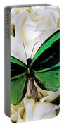 Green Butterfly On White Roses Portable Battery Charger