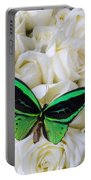 Green Butterfly With White Roses Portable Battery Charger