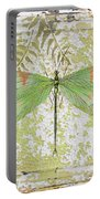 Green Dragonfly On Vintage Tin Portable Battery Charger