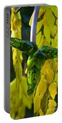 Green Glass Leaves Portable Battery Charger