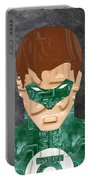 Green Lantern Superhero Portrait Recycled License Plate Art Portable Battery Charger