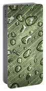 Green Leaf Abstract With Raindrops Portable Battery Charger