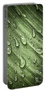Green Leaf Background With Raindrops Portable Battery Charger