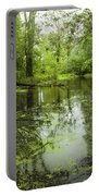 Green Blossoms On Pond Portable Battery Charger