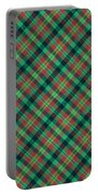 Green Red And Black Diagonal Plaid Textile Background Portable Battery Charger
