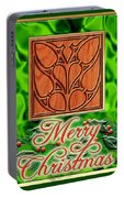 Green Satin Merry Christmas Portable Battery Charger