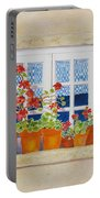 Green Shutters With Red Flowers Portable Battery Charger