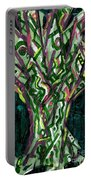 Green Tree With Pink Watercolor Portable Battery Charger