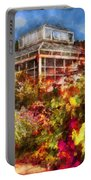Greenhouse - The Greenhouse And The Garden Portable Battery Charger by Mike Savad