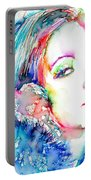 Greta Garbo - Colored Pens Portrait Portable Battery Charger