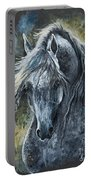 Grey Arabian Horse Oil Painting 2 Portable Battery Charger