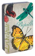 Grey Postcard Butterflies 3 Portable Battery Charger