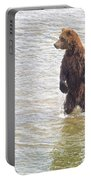 Grizzly Bear Standing To Get A Better Look In The Moraine River In Katmai Portable Battery Charger