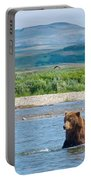 Grizzly Bears In Moraine River In Katmai National Preserve-ak Portable Battery Charger