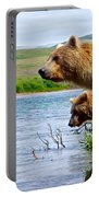 Grizzly Bears Peering Out Over Moraine River From Their Safe Island Portable Battery Charger