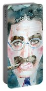 Groucho Marx Watercolor Portrait.1 Portable Battery Charger