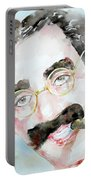 Groucho Marx Watercolor Portrait.2 Portable Battery Charger by Fabrizio Cassetta