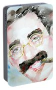 Groucho Marx Watercolor Portrait.2 Portable Battery Charger