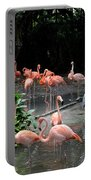 Group Of Flamingos And Lone Heron In Water Portable Battery Charger