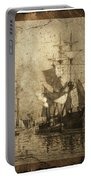Grungy Historic Seaport Schooner Portable Battery Charger by John Stephens