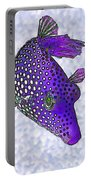 Guinea Fowl Puffer Fish In Purple Portable Battery Charger