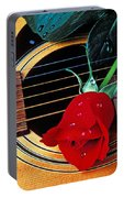 Guitar With Single Red Rose Portable Battery Charger