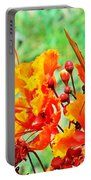 Gulf Fritillary Butterfly On Pride Of Barbados Portable Battery Charger