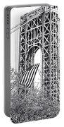 Gw Bridge American Flag In Black And White Portable Battery Charger