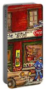 H. Piche Grocery - Goosevillage -paintings Of Montreal History- Neighborhood Boys Play Street Hockey Portable Battery Charger
