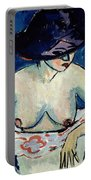 Half Naked Woman With A Hat Portable Battery Charger