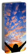 Hands Up To The Sky Showing Happiness Portable Battery Charger by Michal Bednarek